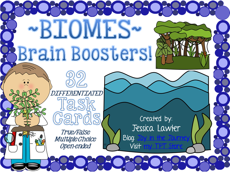 Looking for a fun and engaging way to review and assess your students' understanding of biomes? Well this packet of 32 differentiated task cards is the just-right product for you!  The task cards are in a variety of formats: true/false, multiple choice, and open-ended and cover a variety of topics in a science study of biomes. Resource created by Jessica Lawler @ Joy in the Journey