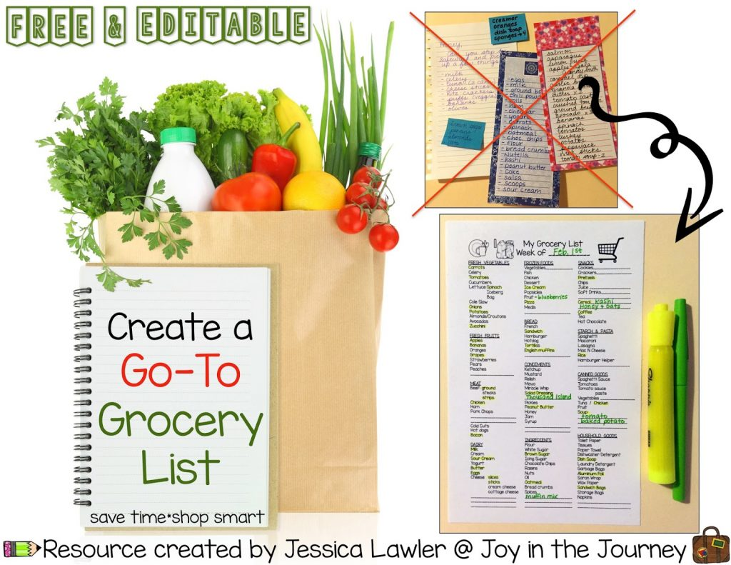 Save time and shop smart! Instead of re-writing the same grocery items week after week, use this free and editable print-and-go master grocery list to keep track of items that you need. Resource created by Jessica Lawler @ Joy in the Journey