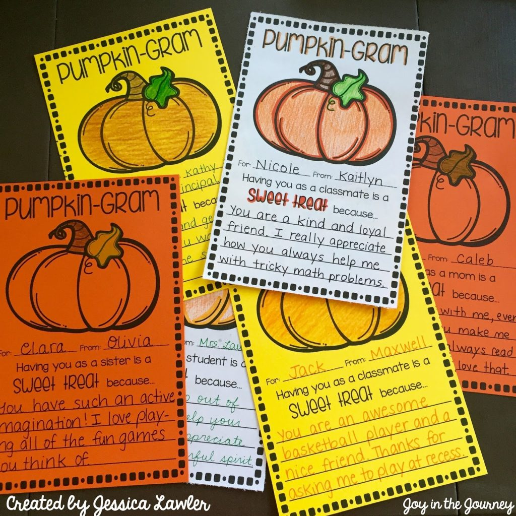 "These FREE ""Pumpkin Grams"" are a fun way to spread kindness this Halloween! These note cards will brighten anyone's day – and with so many templates to choose from, you will be able to spread cheer everywhere! Created by Jessica Lawler"