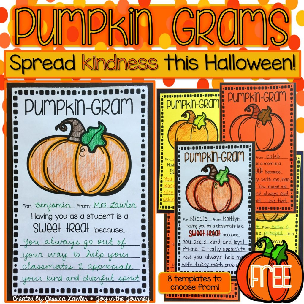 "These ""Pumpkin Grams"" are a fun way to spread kindness this Halloween! These note cards will brighten anyone's day – and with so many templates to choose from, you will be able to spread cheer everywhere! Created by Jessica Lawler"
