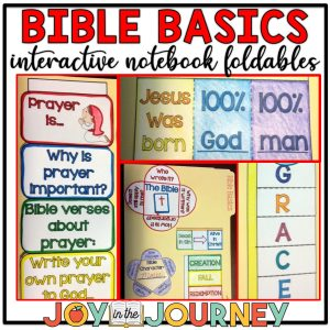 Bible Basics interactive notebook foldables to teach your elementary students about the basics of Christianity