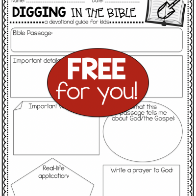 FREE Bible Devotional Activity for Kids