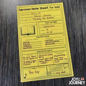 Sermon Notes for Kids sample