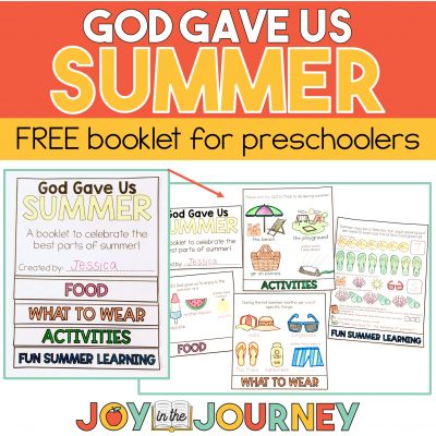 God Gave Us Summer free booklet for preschool