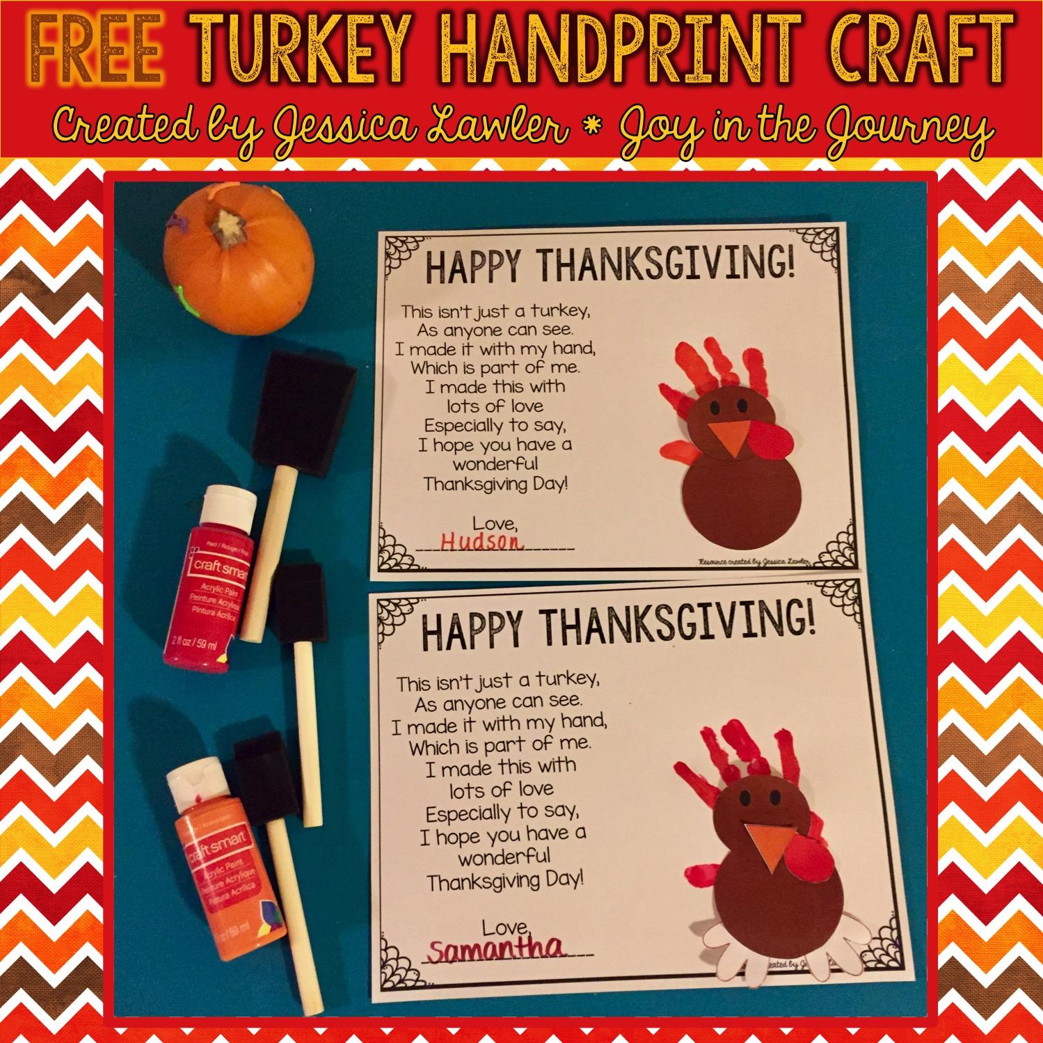Free Turkey Handprint Craft