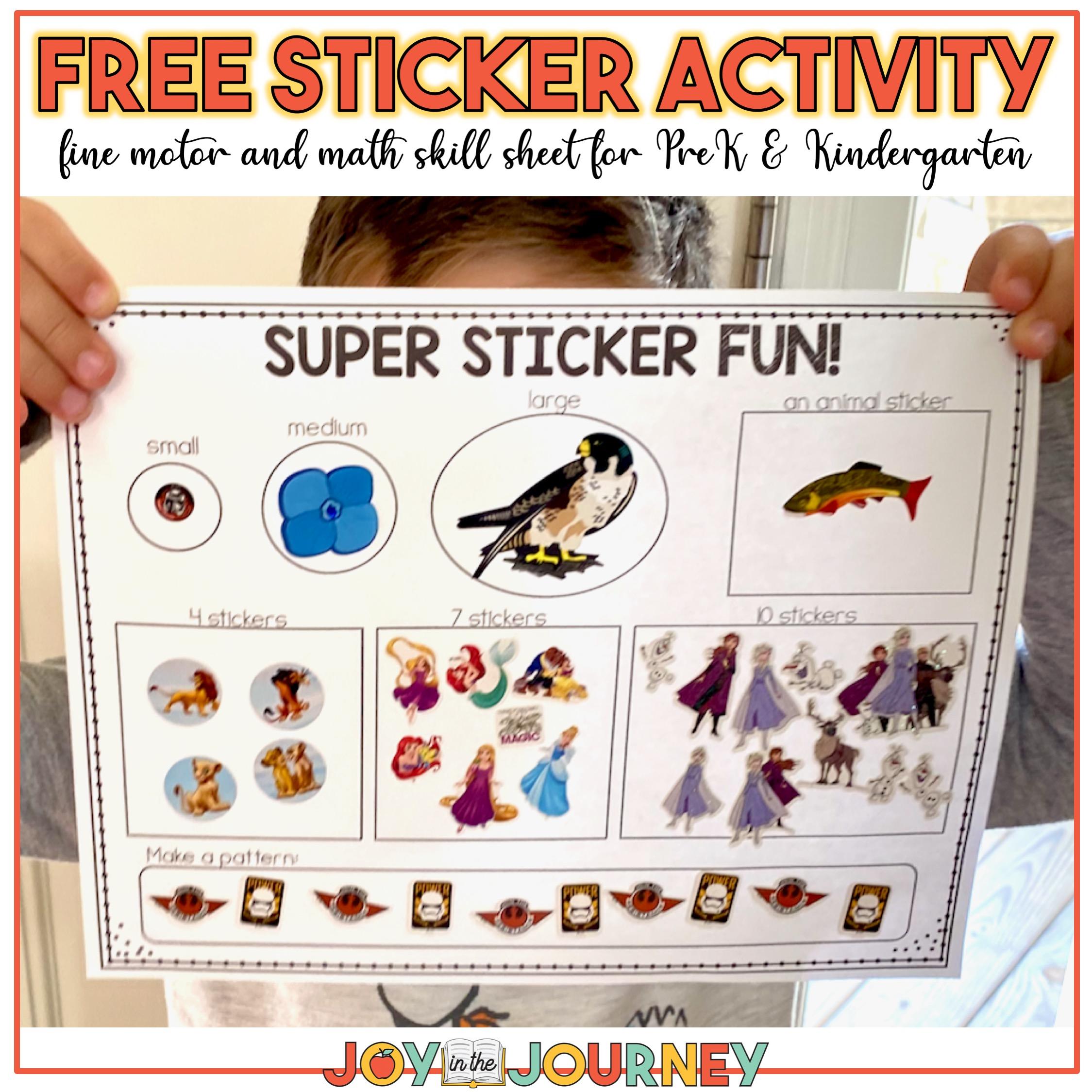 FREE sticker activity page