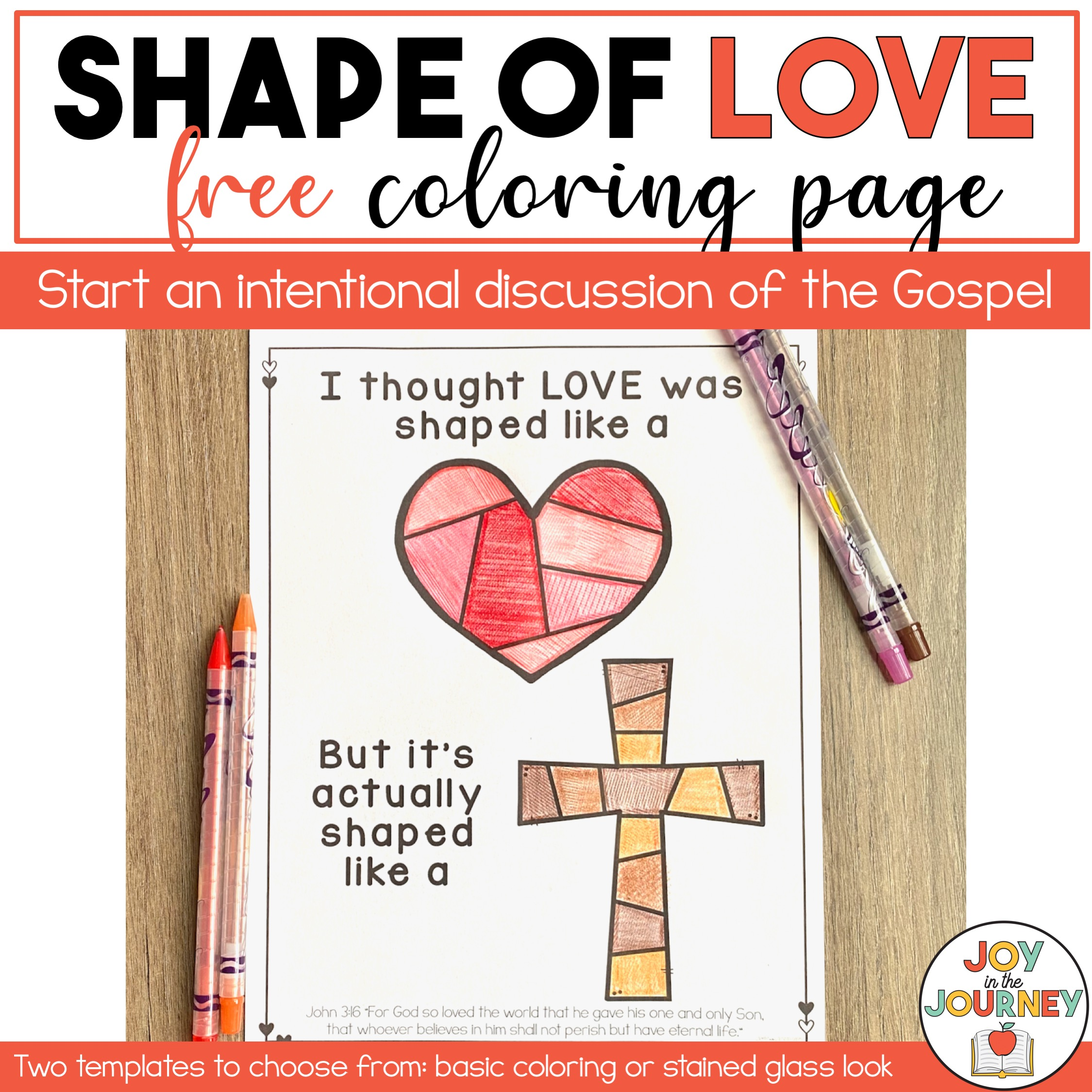 free shape of love coloring page