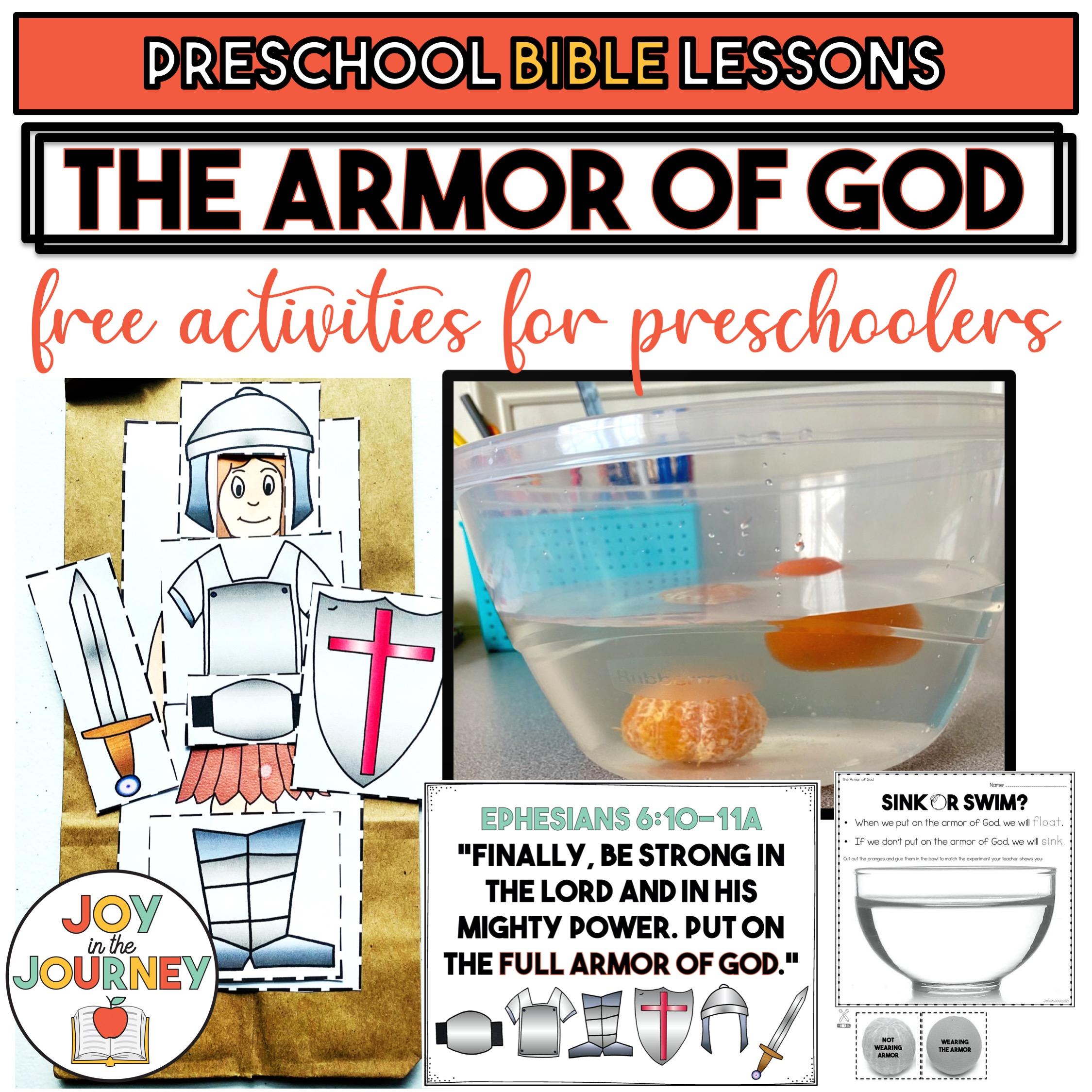 Armor of God activities for preschool